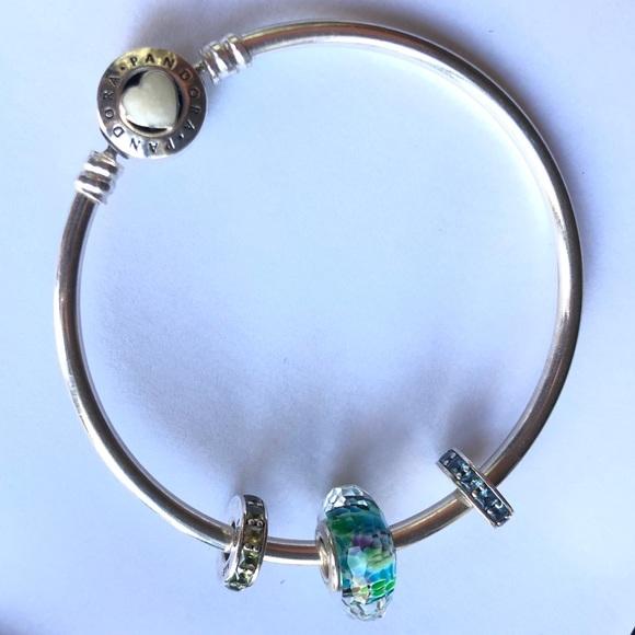 Pandora Jewelry Authentic Pandora Loved Bracelet With 3 Charms Euc Poshmark
